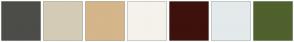 Color Scheme with #4C4D48 #D4CBB6 #D4B68A #F5F2EB #3D120D #E4EAEB #4F612D