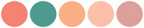 Color Scheme with #F48373 #4D9A90 #FAAF85 #FCBFAC #DCA199