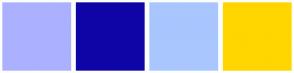Color Scheme with #ABB1FF #0F05A7 #A9C6FF #FFD600