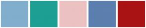 Color Scheme with #81AECC #1D9F94 #ECC1C1 #5B7FAE #A91313