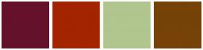 Color Scheme with #65112B #A32400 #B1C58F #764207