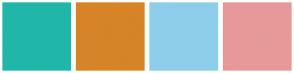 Color Scheme with #20B6A9 #D68427 #8FCEEA #E79999