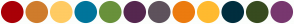 Color Scheme with #A90007 #CF7C2C #FFCB63 #00759B #69913B #55274F #5E525C #EC7B0F #FFBA30 #002E3E #374B1F #78376F