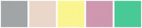 Color Scheme with #A1A5A6 #EBD7CA #FAF58E #CF97B0 #49C996