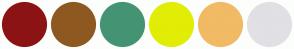 Color Scheme with #8C1313 #8E5920 #449474 #E1ED05 #F1BA65 #E0E0E5