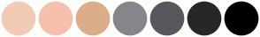 Color Scheme with #F2CBB6 #F5C0AE #DBAD88 #86858C #57575E #292629 #000000