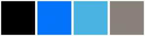 Color Scheme with #000000 #0373FC #48B3E0 #87807A