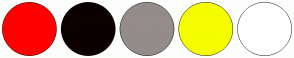 Color Scheme with #FF0000 #0C0000 #948C8C #F5FD00 #FFFFFF