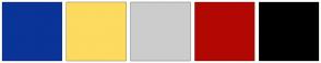 Color Scheme with #0A3498 #FCDB5F #CCCCCC #B20803 #000000
