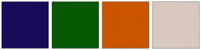 Color Scheme with #170C59 #075903 #CC5500 #D9C8BE