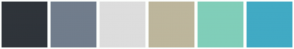 Color Scheme with #2F343A #717D8C #DDDDDD #BDB69C #80CEB9 #41AAC4