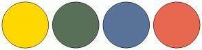 Color Scheme with #FFD800 #587058 #587498 #E86850