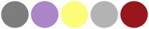 Color Scheme with #7D7D7D #AB85C9 #FCFC79 #B3B3B3 #99171D
