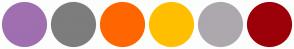 Color Scheme with #A06FB0 #7D7D7D #FF6600 #FFBF00 #ADA8AD #9C0008