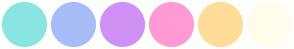 Color Scheme with #8AE5E1 #A8BCF7 #D091F6 #FF9AD4 #FFDC98 #FFFDEC