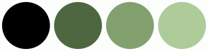 Color Scheme with #000000 #4E6740 #82A16F #ADCC99