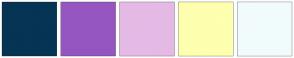 Color Scheme with #063454 #9556C1 #E4BAE5 #FEFFAF #F1FBFB