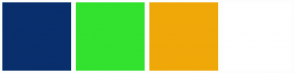 Color Scheme with #092F6D #32E22E #EFA808 #FFFFFF