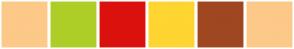 Color Scheme with #FCC988 #ADCE27 #DB110D #FFD531 #9F4721 #FCC988