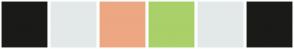 Color Scheme with #1A1A18 #E3E9E9 #EDA783 #AAD069 #E3E9E9 #1A1A18
