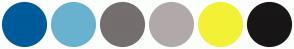 Color Scheme with #005B9A #69B2CF #756E6E #B1A9A9 #F3F135 #181616
