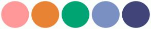 Color Scheme with #FF9999 #E98334 #00A373 #7A90C2 #414479