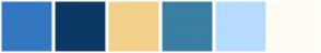 Color Scheme with #3477C1 #0A3965 #F2D08A #3A7EA3 #B7DBFF #FFFBF3
