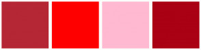 Color Scheme with #B52735 #FF0000 #FFBAD2 #AA0114