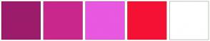Color Scheme with #9C1C6B #CA278C #E858E1 #F51133 #FFFFFF