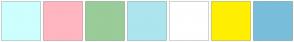 Color Scheme with #CDFFFF #FFB6C1 #99CC99 #ACE5EE #FFFFFF #FFEF00 #79BEDB