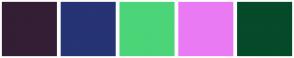 Color Scheme with #331E36 #263374 #4BD578 #EA7AF4 #054A29