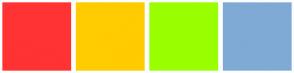 Color Scheme with #FF3333 #FFCC00 #99FF00 #7FAAD6