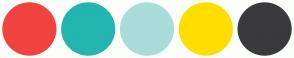 Color Scheme with #F1433F #23B5AF #A9DDD9 #FFDE00 #3A3A3C