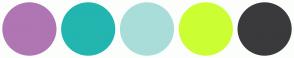 Color Scheme with #AF76B3 #23B5AF #A9DDD9 #CCFF33 #3A3A3C