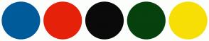 Color Scheme with #005B9A #E6210A #0A0A0A #06410E #F7DF05