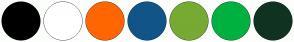 Color Scheme with #000000 #FFFFFF #FF6600 #115588 #77AA33 #113322