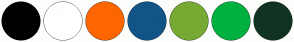 Color Scheme with #000000 #FFFFFF #FF6600 #115588 #77AA33 #00B140 #113322