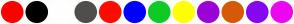 Color Scheme with #FF0000 #000000 #FFFFFF #514D4D #FF0B00 #0000FF #0FCA25 #FFFF00 #9B03D6 #D65A08 #8607F0 #ED07F0