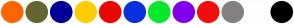 Color Scheme with #FF6600 #666633 #000099 #FFCC00 #EA0505 #0732DB #07E82B #8100EC #F40D0D #838080 #FFFFFF #000000