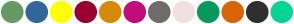 Color Scheme with #669966 #336699 #FFFF00 #990033 #D8890B #C10D7C #706C6C #F0E0E0 #09985F #D96407 #312F2F #05D494