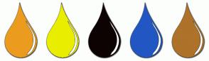 Color Scheme with #EB9C1E #E9EE00 #0E0303 #2257C3 #AE722A