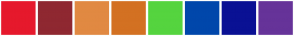 Color Scheme with #E6192C #8F2831 #E18942 #D37122 #55D43F #0047AB #0A1194 #663399