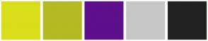 Color Scheme with #D8DE1A #B4BA22 #5E0F8B #C6C6C6 #222222
