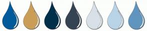 Color Scheme with #005B9A #CA9E56 #00304A #354453 #D8E1E8 #B9D4E7 #6095BF