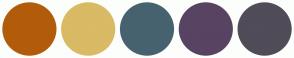 Color Scheme with #B25C0B #D9BA65 #47626F #584363 #504C58