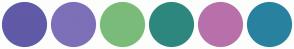 Color Scheme with #605AA7 #7D70B8 #7ABB7A #2E877E #B870AB #28829F