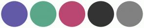Color Scheme with #625AA7 #5AA789 #BA4772 #818181