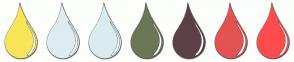 Color Scheme with #F9E559 #DDECEF #DAECF0 #6C7755 #5D4047 #E35353 #FF4C4C