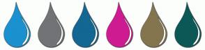 Color Scheme with #1B91CF #727376 #136793 #CF1B91 #84754E #0B5857