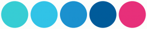 Color Scheme with #37CDD4 #31C3E7 #1B91CF #005B9A #E7307A